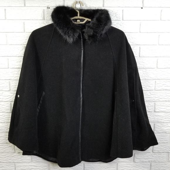 57dbe89e721 CJ Banks Winter Cape 2X Black WOOL Faux Fur NEW